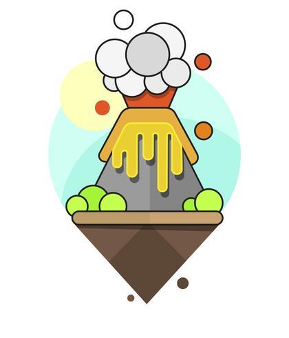 Vulkan på en ö med rökklar för din design vektor