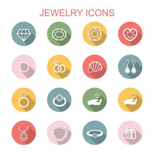 smycken långa skugg ikoner vektor