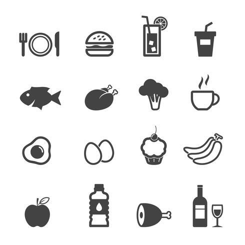 mat och dryck ikoner vektor