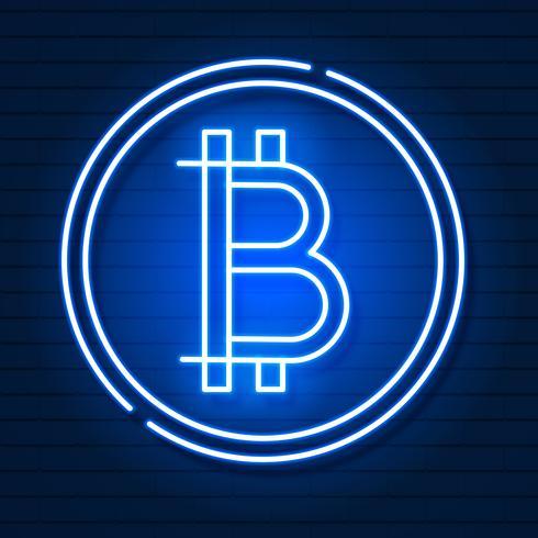 Neon Bitcoin Symbol På Svart Background.light Effect. Digitala pengar, Mining Technology Concept. Vektor ikon.