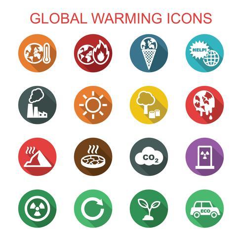 globala uppvärmning långa skugg ikoner vektor