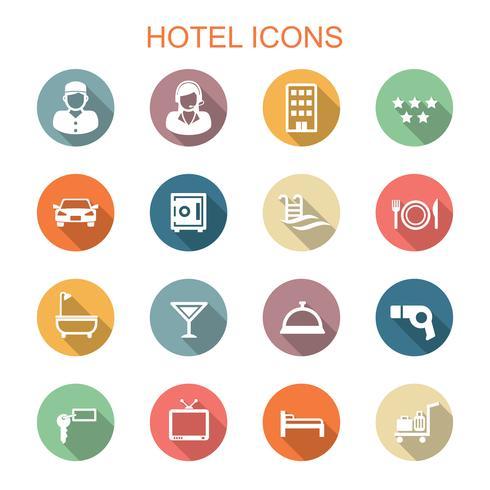 Hotell långa skugg ikoner vektor