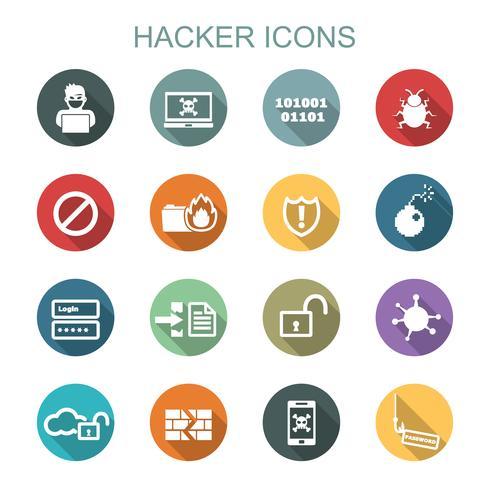 hacker lång skugg ikoner vektor