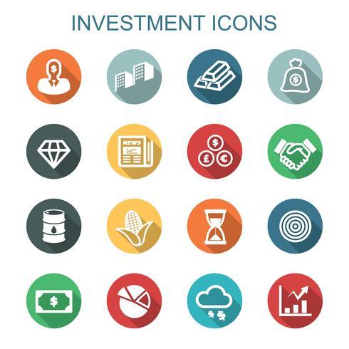 investeringar långa skuggikoner vektor