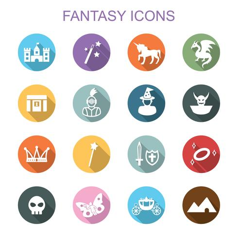 Fantasy lange Schatten Symbole vektor