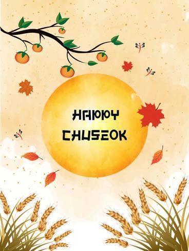 Chuseok-Fahnendesign Persimonebaum auf Vollmondansichthintergrund. vektor
