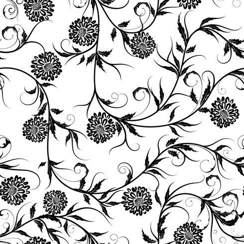 Nahtloser einfarbiger Blumenhintergrund auf Vektorillustration. vektor
