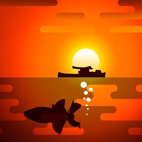 Silhuett av torped, symboliserar kriget. vektor