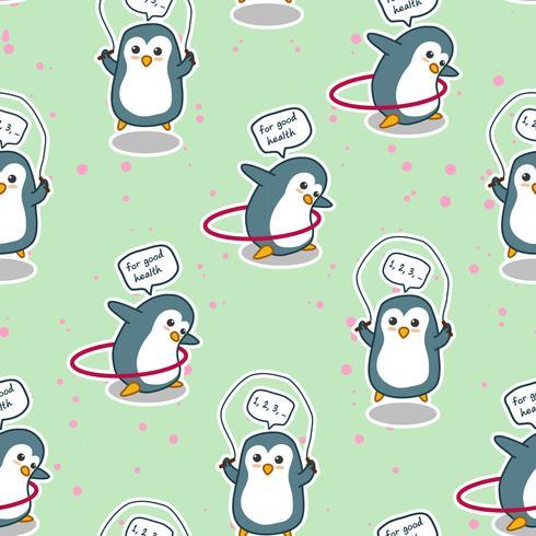 Den sömlösa pingvinen tränar för ett bra hälsmönster. vektor
