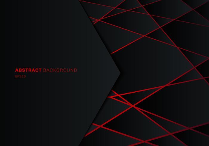 Abstrakt mall svart geometrisk polygon på röd laser ljus neon futuristisk teknik design koncept bakgrund med utrymme för text. vektor