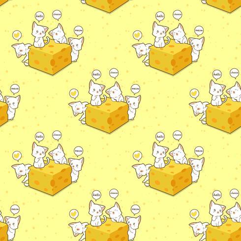 Sömlösa kawaii-katter och ostmönster vektor