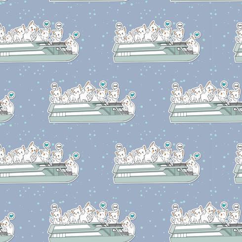 Sömlösa kawaii-katter i färjebåtsmönstret vektor