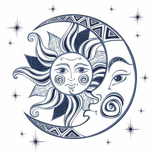 Der Mond und die Sonne. Altes astrologisches Symbol. Gravur. Boho-Stil. Ethnisch. Das Symbol des Tierkreises. Mystisch. Vektor. vektor