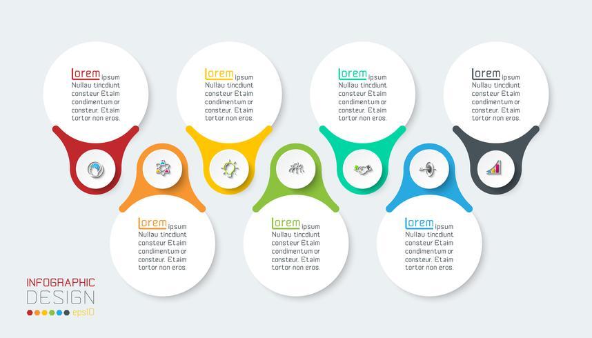 Sieben vertikale Infografiken Bar. vektor