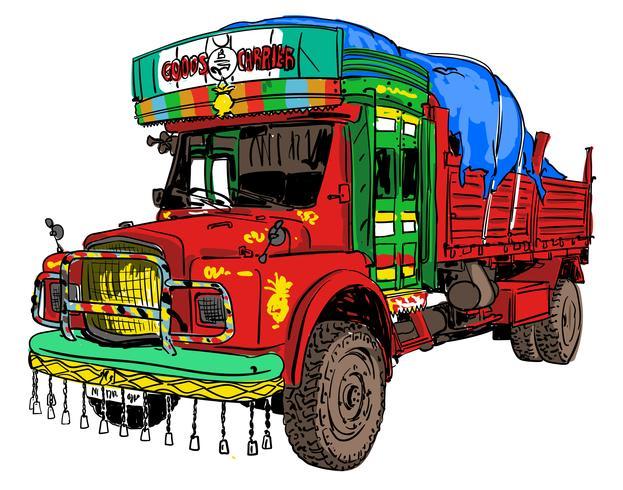 Indisk gammal lastbil vektor
