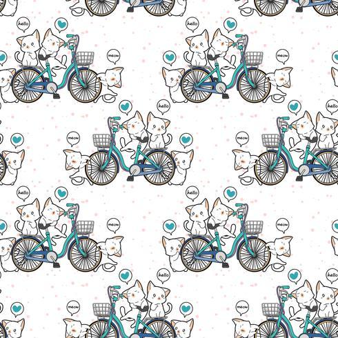 Nahtlose kawaii Katzen und Fahrradmuster vektor
