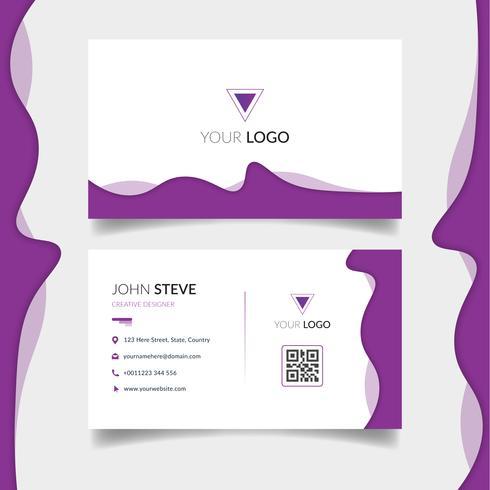 Purpurfärgad vågig visitkortmall vektor