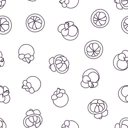 Mangosteen doodle handritad sömlös bakgrund. vektor