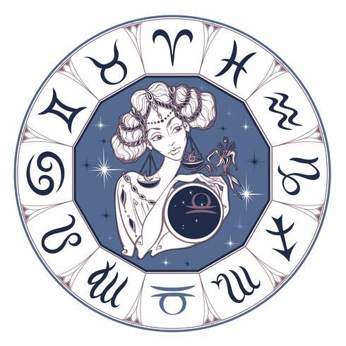 Zodiac Sign Libra som en vacker tjej. Horoskop. Astrologi. Vektor