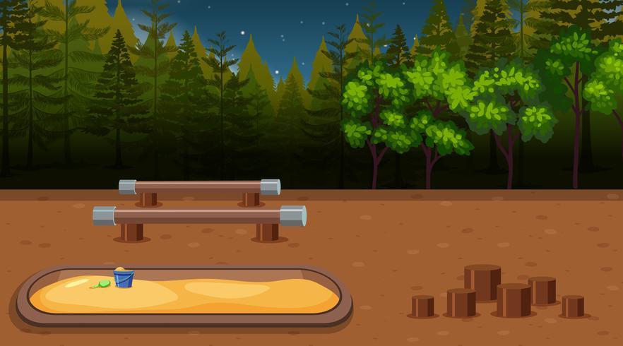 Eine Spielplatzszene nachts vektor