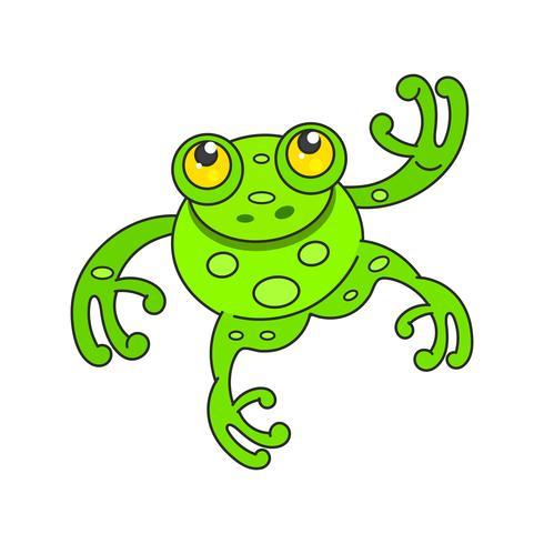 Gullig grön groda tecknad karaktär isolerad på vitt vektor