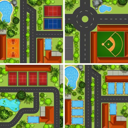 Flygplatser med vägar och sportbanor vektor