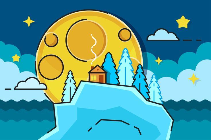 Månskensplats med träd och hus redo för din design, hälsningskort vektor