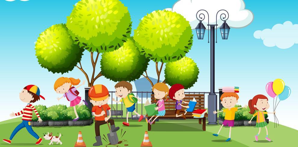 Barn som hänger i parken vektor