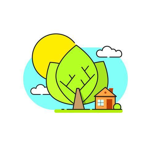 Grünes Haus Logo Emblem Auf Weißem Hintergrund vektor