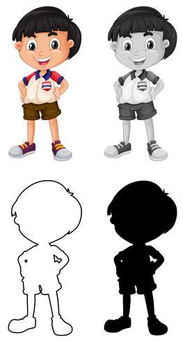 Set av thailändsk pojke karaktär vektor