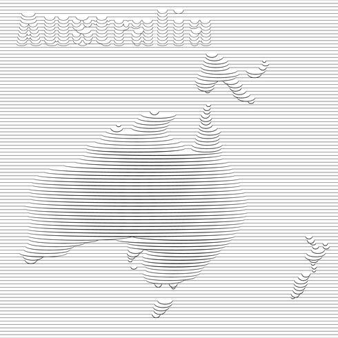 Abstrakt linje av Australien karta på vektor grafisk konst.