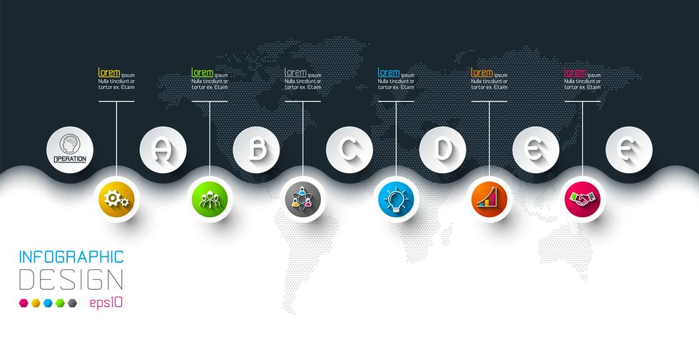 Business cirkel etiketter form infographic i horisontella. vektor