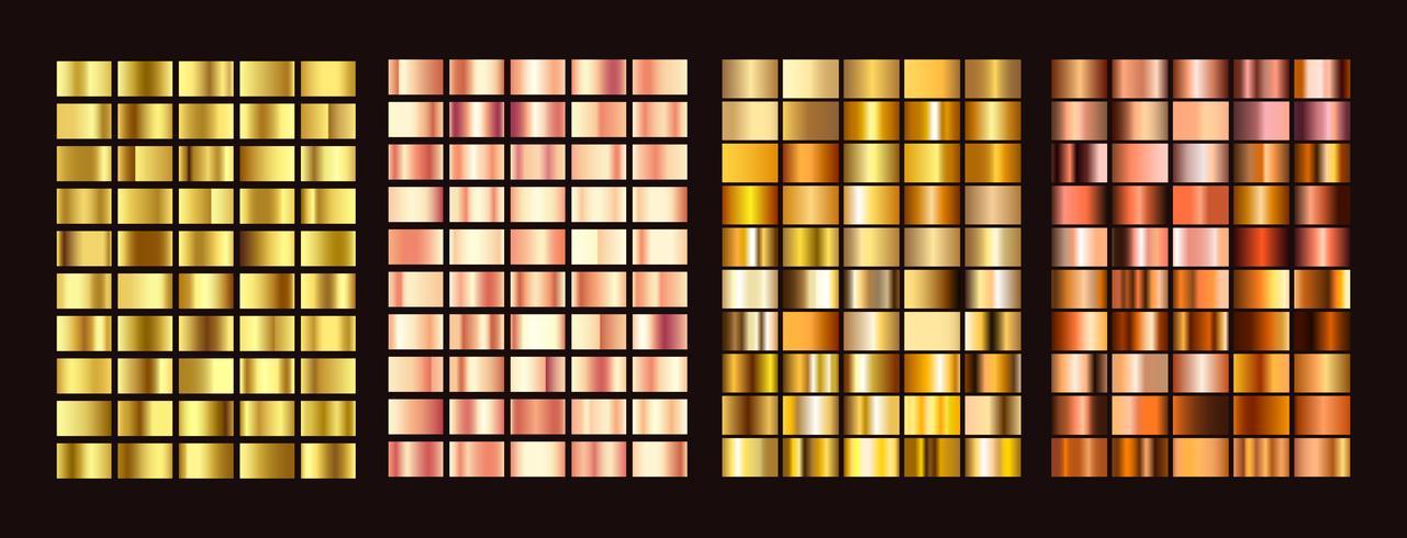 Große Sammlung bunte Farbverläufe. Metallische Farbverläufe bestehend aus Hintergründen. Vektor. vektor