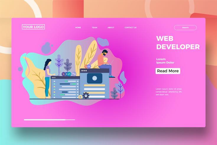 Zielseitenvorlage für Webentwickler vektor