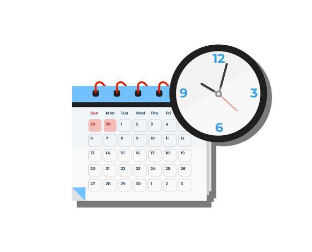 Kalender och klocka vektor