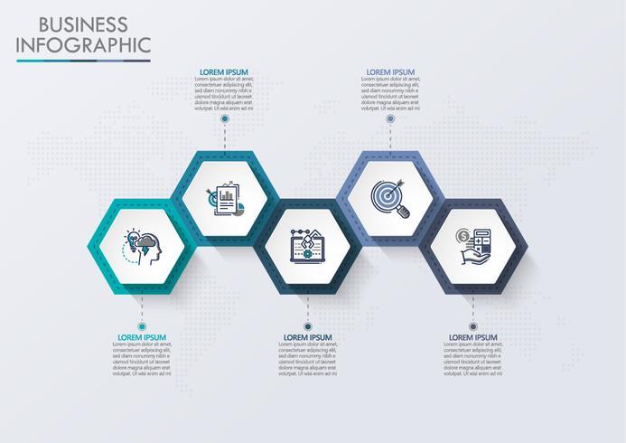 Visualisierung von Geschäftsdaten. Infographik Timeline Icons für abstrakte Hintergrundvorlage vektor