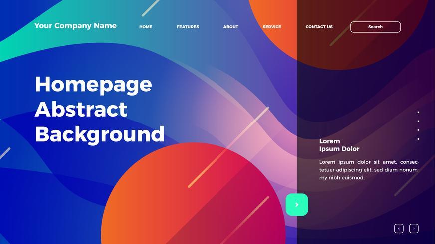 Homepage abstrakte Welle Hintergrund. Zielseitenvorlage mit Farbverlauf vektor