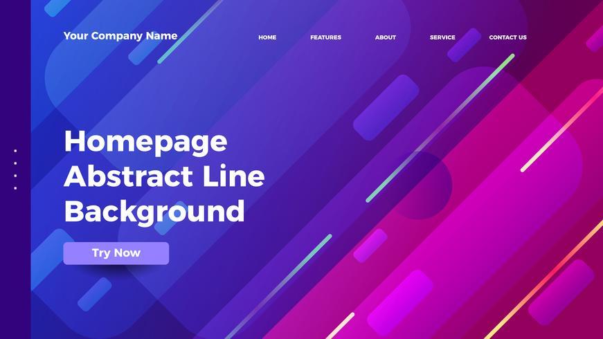 hemsida abstrakt linje bakgrund. Gradient målsida mall vektor