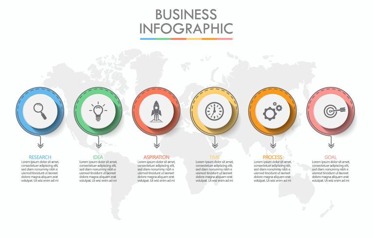 Företagsdatavisualisering. Tidslinje infografiska ikoner avsedda för abstrakt bakgrundsmall vektor