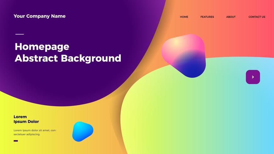 Homepage abstrakten Hintergrund. Zielseitenvorlage mit Farbverlauf vektor