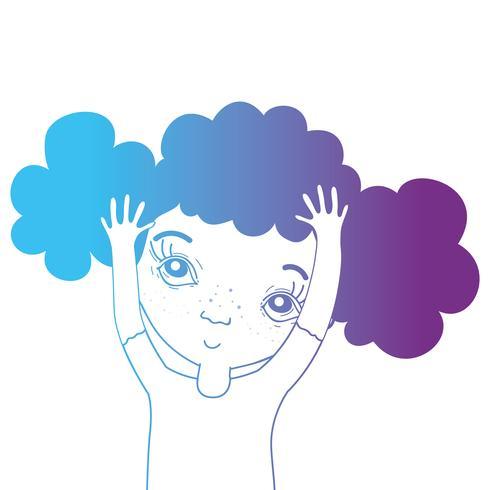 linje avatar flicka med frisyr och blus vektor