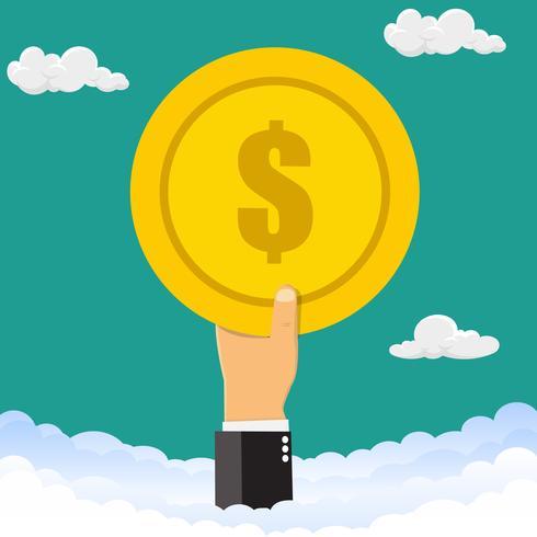 Hand som håller pengar mynt. Handen håller ett mynt i himlen. Vektor illustration.