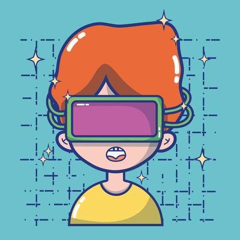 pojke med 3D-glas teknologi till virtuell verklighet vektor