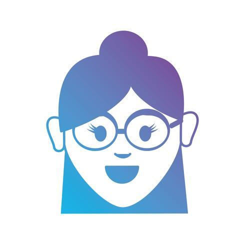 linje avatar kvinna huvudet med frisyr vektor