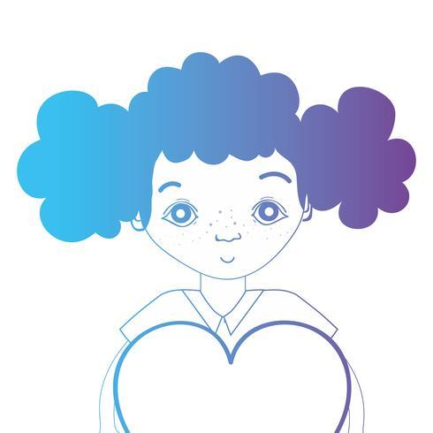 Linie Avatar Mädchen mit Frisur und Herz-Design vektor