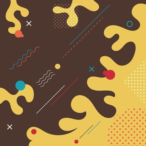 Abstrakter flüssiger brauner, gelber, blauer, weißer, roter geometrischer Form- und Modememphis-Artkarten-Designhintergrund. Sie können für Poster, Broschüren, Layouts, Vorlagen oder Präsentationen verwenden. vektor