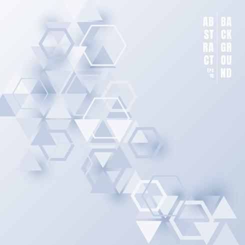 Hellblaue Farbe der abstrakten Dreiecke und der Hexagone mit Schatten auf weißem Hintergrund. Futuristische Technologieart des geometrischen Musters für Geschäftstechnologiedarstellungen vektor