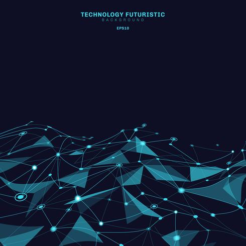 Polygonale Formen der abstrakten Dreiecke auf dem dunkelblauen Hintergrund, der aus Linien und Punkten in Form von Planeten und Konstellationstechnologiekonzept besteht. Digitale Internetverbindung. vektor