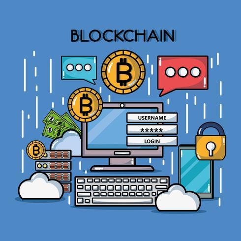 blockchain kuber digital säkerhetsteknik vektor