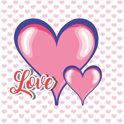 hjärtan med kärlek meddelande dekoration design vektor